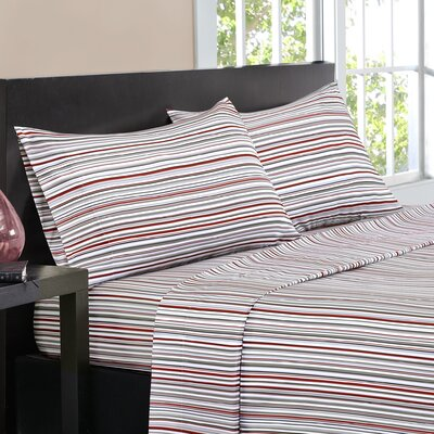 Multi-Stripe Sheet Set Size: Queen, Color: Red
