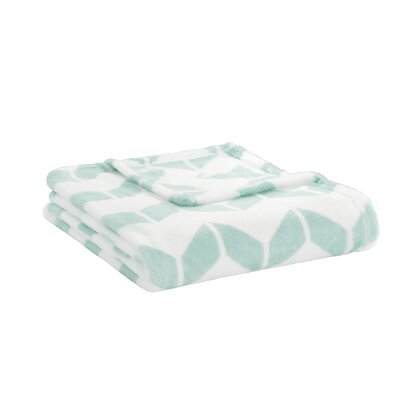 Chevron Plush Throw Color: Aqua / White