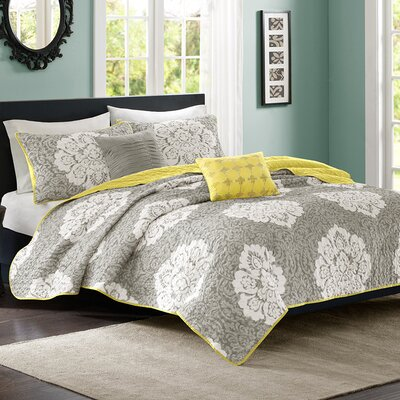 Tanya Coverlet Set Color: Gray, Size: Twin / Twin XL