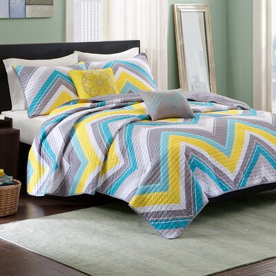 Elise Coverlet Set Color: Blue, Size: Full / Queen