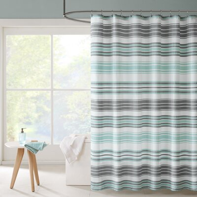 Ana Puckering Stripe Shower Curtain Color: Aqua