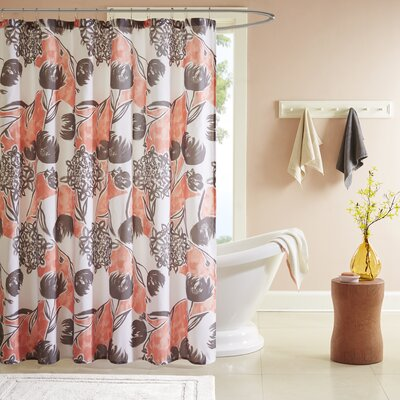 Marie Printed Shower Curtain Color: Coral