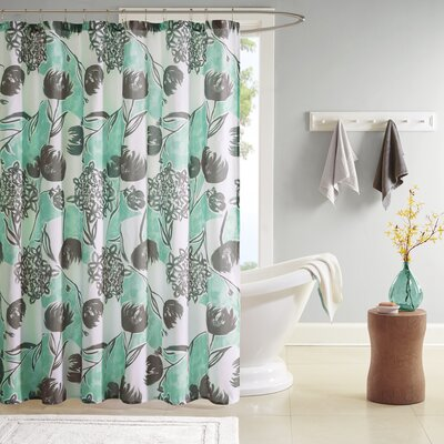 Marie Printed Shower Curtain Color: Aqua