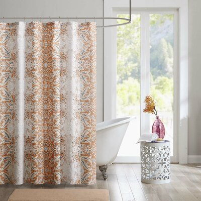 Bettie Printed Shower Curtain Color: Grey/Orange