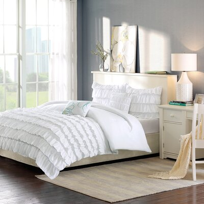 Eladia Comforter Set Color: White, Size: Full / Queen