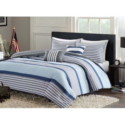 Paul Comforter Set Size: Twin / Twin XL, Color: Blue / Grey