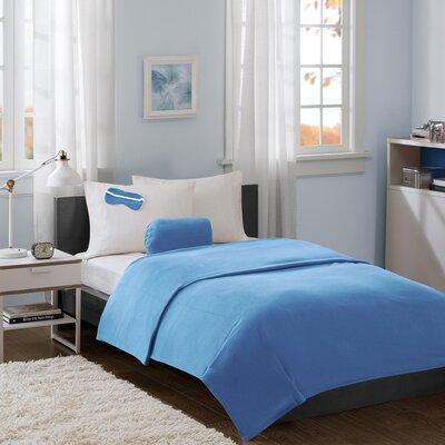 Twin XL Micro Fleece Blanket with Eyemask Color: Blue