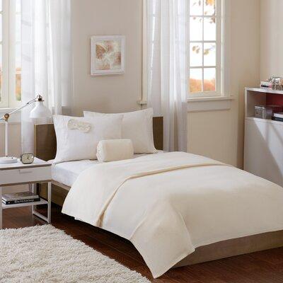 Twin XL Micro Fleece Blanket with Eyemask Color: Ivory