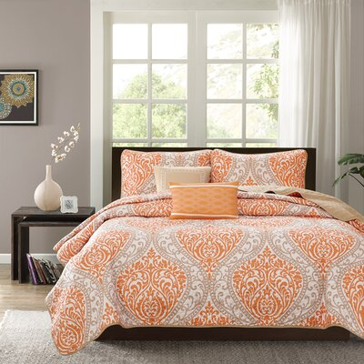 Charlisa 5 Piece Coverlet Set Color: Orange, Size: Full / Queen