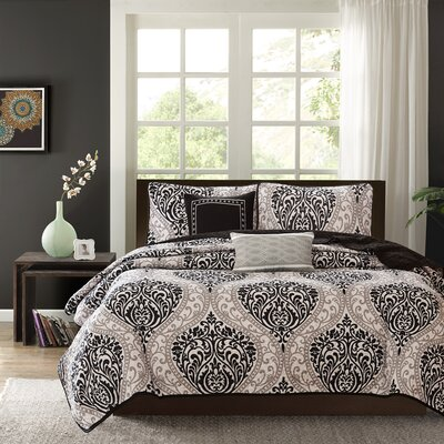 Charlisa 5 Piece Coverlet Set Color: Black, Size: Full / Queen