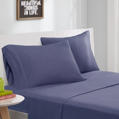 Jersey Knit Sheet Set Size: Queen, Color: Navy