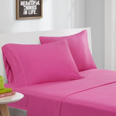 Jersey Knit Sheet Set Size: Full, Color: Pink