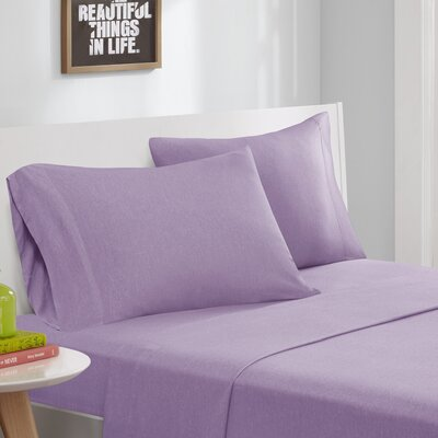 Jersey Knit Sheet Set Size: Full, Color: Purple