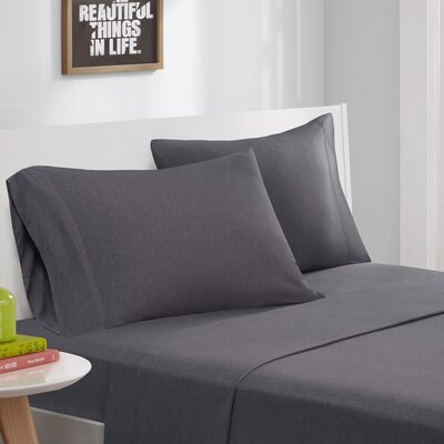 Jersey Knit Sheet Set Size: Twin, Color: Charcoal