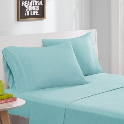 Jersey Knit Sheet Set Size: Full, Color: Aqua
