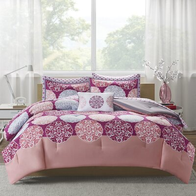 Marissa Complete Bed and Sheet Comforter Set Size: Twin, Color: Coral
