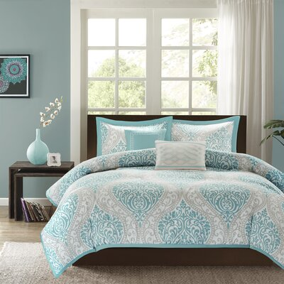 Senna Duvet Cover Set Color: Aqua, Size: King / California King