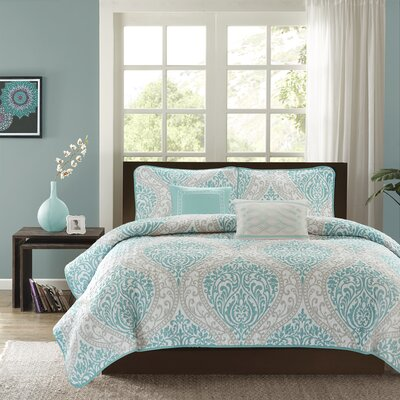 Charlisa 5 Piece Coverlet Set Color: Aqua, Size: Twin / Twin XL