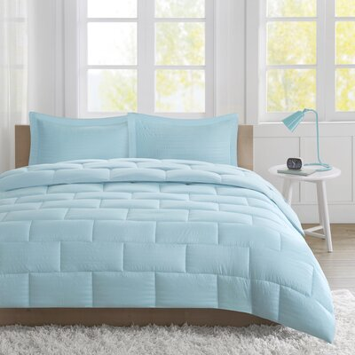 Avery Comforter Set Size: Twin, Color: Aqua
