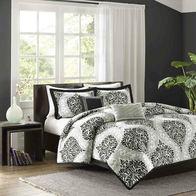 Charlisa Duvet Cover Set Color: Black, Size: King / California King