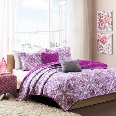 Lionna Coverlet Set Size: Full / Queen, Color: Purple