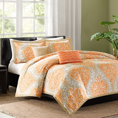 Charlisa Duvet Cover Set Color: Orange, Size: King / California King
