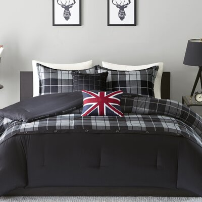 Bryce Comforter Set Size: Twin/Twin XL, Color: Black/Grey