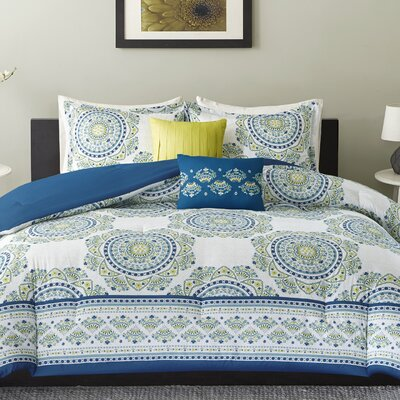Anika Comforter Set Size: Full/Queen, Color: Aqua