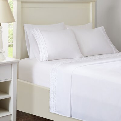 Ruffled Sheet Set Size: Twin, Color: White