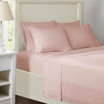Ruffled Sheet Set Size: King, Color: Pink