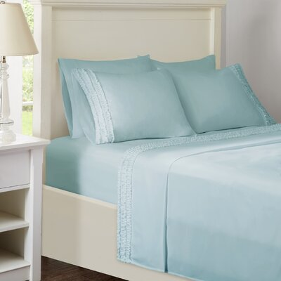 Ruffled Sheet Set Size: Twin, Color: Blue