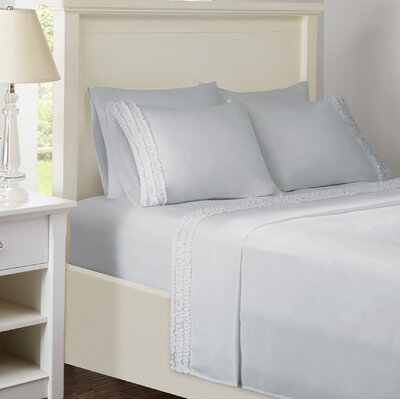 Ruffled Sheet Set Size: King, Color: Gray