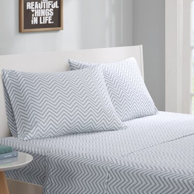 Jersey Knit Sheet Set Size: Full, Color: Gray Chevron