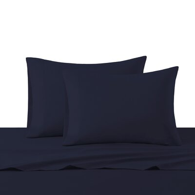 Dima Solid Sheet Set Size: King, Color: Navy