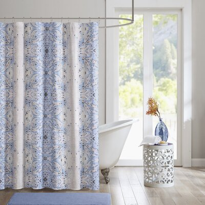 Bettie Printed Shower Curtain Color: Grey/Periwinkle