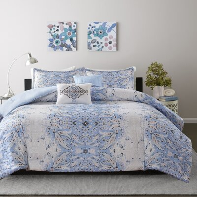 Minet Comforter Set Size: Full/Queen, Color: Blue