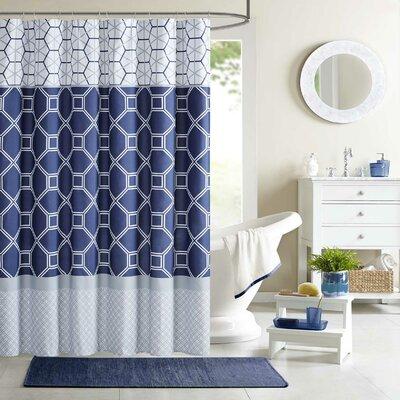 Clara Microfiber Shower Curtain Color: Navy
