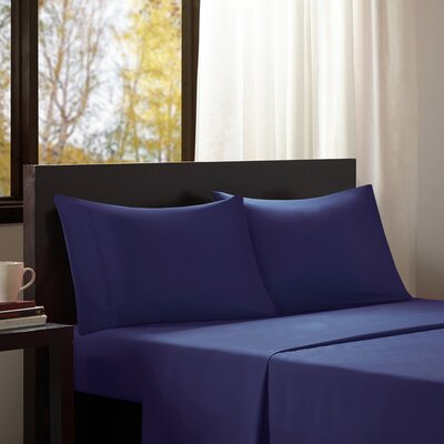 Dima Solid Sheet Set Size: Twin, Color: Aqua Blue