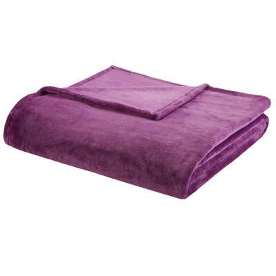 Microlight Plush Blanket Size: Full / Queen, Color: Purple