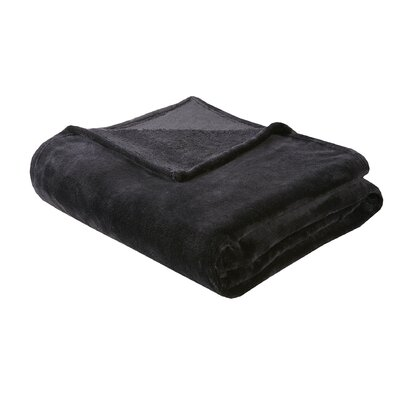 Microlight Over-sized Plush Blanket Size: Full/Queen, Color: Black