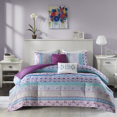Joni Reversible Comforter Set Size: Full/Queen, Color: Purple