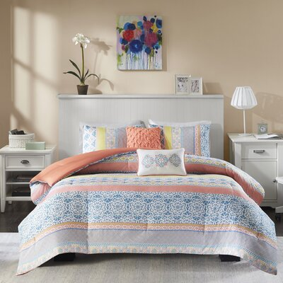 Joni Reversible Comforter Set Size: Full/Queen, Color: Coral