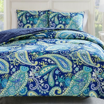 Cairns Reversible Comforter Set Size: Full/Queen, Color: Navy
