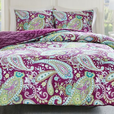 Cairns Reversible Comforter Set Size: King, Color: Purple