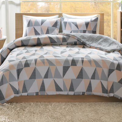 Ellie Reversible Comforter Set Size: King, Color: Blush