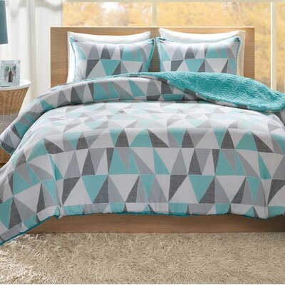 Ellie Reversible Comforter Set Size: King, Color: Aqua