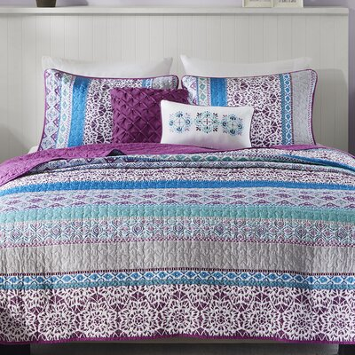 Joni Coverlet Size: Twin/Twin XL, Color: Purple/Blue