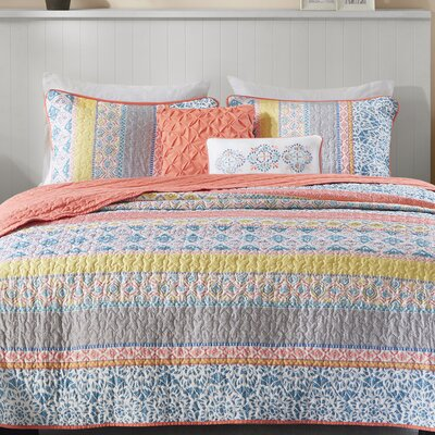 Joni Coverlet Size: Full/Queen, Color: Coral/Blue