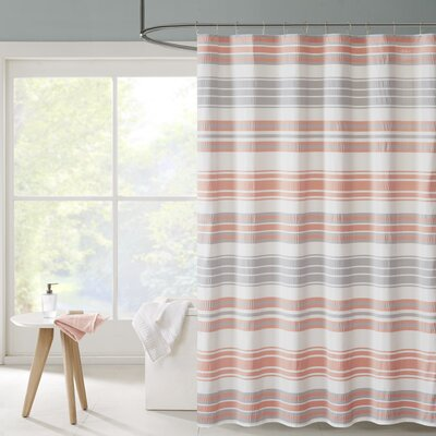 Ana Puckering Stripe Shower Curtain Color: Coral