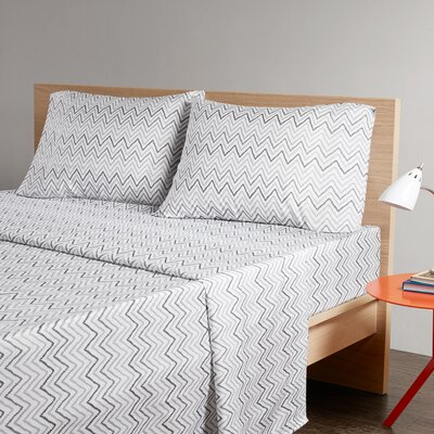 Chevron Printed Sheet Set Size: Full, Color: Grey